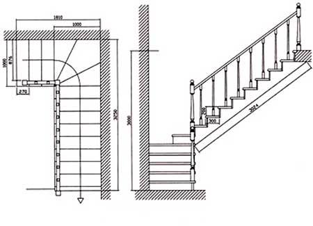 Лестница на второй этаж чертёж