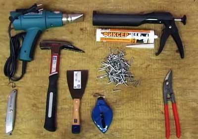 Инструменты и материалы для монтажа мягкой кровли