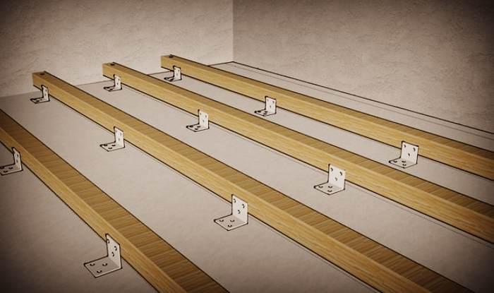 Крепление лаг с помощью уголков к полу